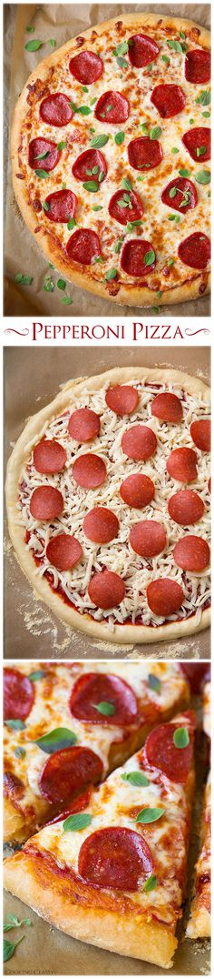 Pepperoni Pizza (Homemade Dough and Pizza Sauce Recipes) - this is my favorite homemade pepperoni pizza! SO good!