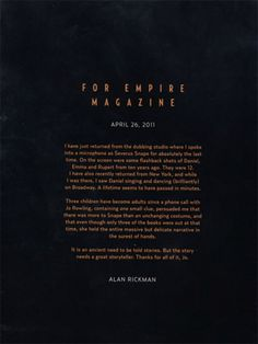 Alan Rickman's Harry Potter Thank-you Letter to J.K. Rowling