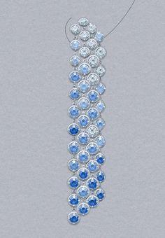 Brume de saphir earrings: Sapphires and diamonds. © Van Cleef & Arpels - Gouaché by autumn Simple Jewelry, High Jewelry, Cute Jewelry, Jewelry Art, Gemstone Jewelry, Vintage Jewelry, Jewelry Accessories, Fashion Jewelry, Pearl Jewelry