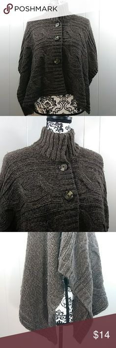 DECREE brown knit cropped poncho  -Size Small Women's brown knit Shaw. Decree size small. 96% acrylic. Decree Sweaters Shrugs & Ponchos