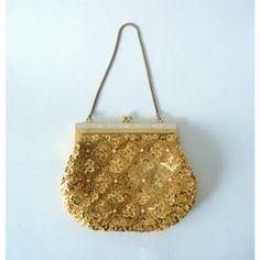 Vintage 1950s Gold Sequinned & Beaded Evening Purse ($54) ❤ liked on Polyvore featuring bags and handbags