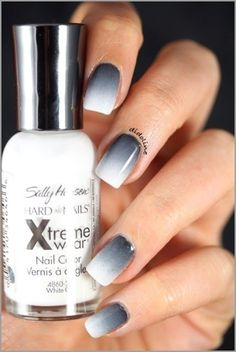 Graphic Black & White #Nail Art #BeautifulNails I wish I could do gradient nails like this!! It never seems to work for me!! :P