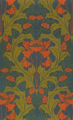 Harry Napper textile Art Nouveau - love the colors. An overlap of Art Nouveau and the Arts and Crafts movement. Textile Patterns, Textile Design, Textile Art, Print Patterns, Flower Patterns, Art Nouveau Wallpaper, Of Wallpaper, Pattern Wallpaper, Art Nouveau Design