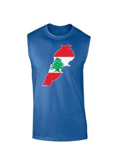 TooLoud Lebanon Flag Silhouette Dark Muscle Shirt