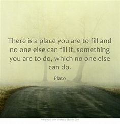 There is a place you are to fill and no one else can fill it, something you are to do, which no one else can do. ~ Plato