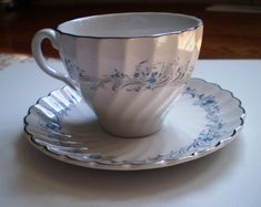 Johnson Bros Made in England Ironstone Blue Floral and Silver Edging Teacup and Saucer