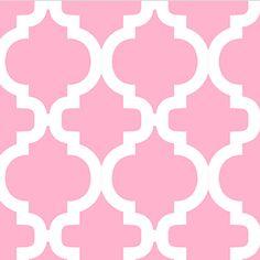 Dreamland Bella Quatrefoil White on Carnation Pink Flannel