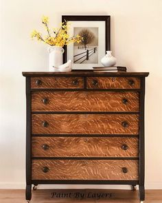 The movement of the grain on this Tiger Oak Empire Sytle dresser is amazing! Removing all the heavy black lacquer that covered this… makeover Oak Chalk Paint Furniture, My Furniture, Recycled Furniture, Furniture Upholstery, Furniture Makeover, Empire Furniture, Purple Dresser, Oak Dresser, Dressers