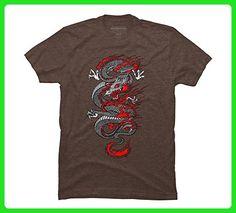 Asian Dragon Men's Medium Mocha Heather Graphic T Shirt - Design By Humans - Fantasy sci fi shirts (*Amazon Partner-Link)
