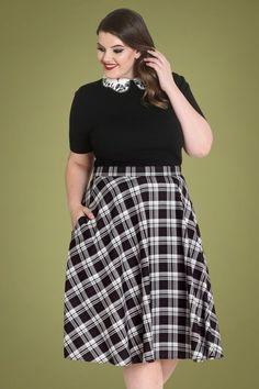 Bunny Manchester Tartan Swing Skirt Années 50 en Noir et Blanc