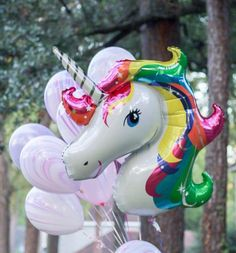 Rainbow Unicorn Balloon Party Decor for all life's fun events including baby shower and birthday parties! These balloons are a great highlight to any party decor. Style your next event with these balloon garlands Unicorn Balloon, Baby Balloon, Rainbow Unicorn, Balloon Party, Balloon Ideas, Diy Unicorn Party, Unicorn Birthday Parties, Birthday Balloons, Moana Birthday