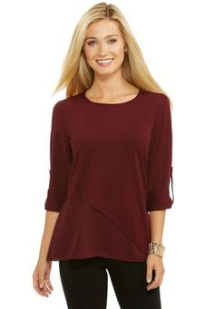 Georgette Trimmed Knit Top- Plus