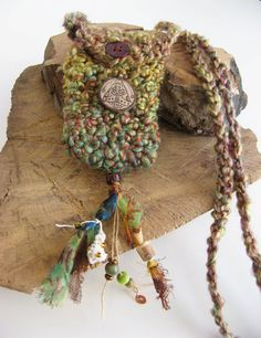 Celtic Moth Mini Pouch Necklace Woodland Elf Bag by TheMysticWood
