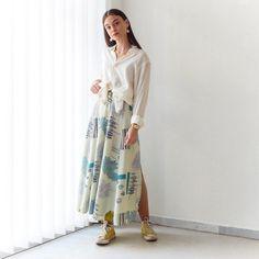 VIN-SKI-0750 Vintage φούστα εκρού με σχέδια και κουμπιά μπροστά Vintage Skirt, Skirts, Skirt, Gowns, Skirt Outfits, Petticoats, Dress