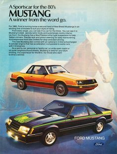 1980 Ford Mustang Ad. IDEOLOGY: the visual metaphor in this ad, and the general logo for the mustang, is the galloping horse in the back ground. The mustang is a representation of power and beauty. The horse reminds consumers of these characteristics so they can form a deeper connection with the car.