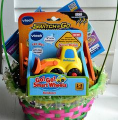 Create a toy-tastic Easter basket with VTech.  Plus #Giveaway  Enter to win VTech toys including Sofia the First and Doc McStuffins InnoTab game, Go! Go! Smart Wheels vehicle and a Switch & Go Dinos!