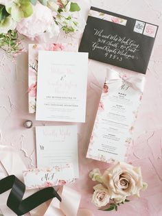 Pink floral wedding stationery for an elegant outdoor Michigan wedding | Rhiannon Bosse Celebrations