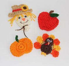 Fall Crochet Scarecrow Apple Pumpkin And Turkey Appliques