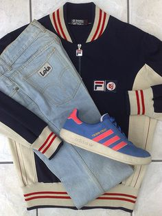 Fila BJ jacket, Lois jeans and Adidas Trimm-Trab trainers Football Casual Clothing, Football Casuals, Football Fashion, Casual Attire, Casual Wear, Casual Outfits, 80s Fashion, Urban Fashion, Americana Vintage
