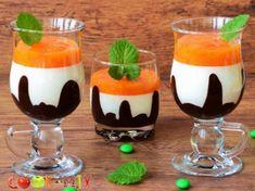 Шоколадно-сливочный десерт с хурмой в стакане Panna Cotta, Deserts, Pudding, Cooking, Ethnic Recipes, Food, Kitchen, Dulce De Leche, Custard Pudding