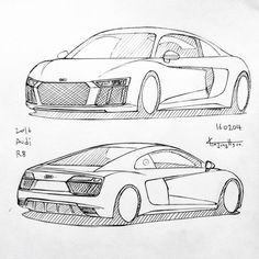 Car drawing 160204. 2016 Audi R8. Prisma on paper. Kim.J.H