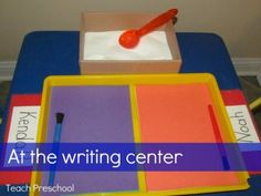 An invitation to play at the writing center from Teach Preschool