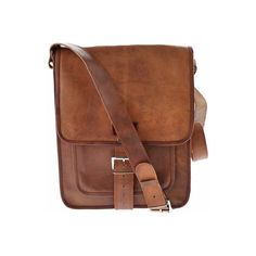 SHARO Genuine Leather Bags Retro One Strap Messenger Bag - Brown (170 CAD) ❤ liked on Polyvore featuring bags, messenger bags, brown, leather ipad messenger bag, ipad satchel, courier bag, brown satchel handbag and satchel handbags