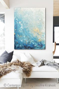 Drifting Away Giclee Print, Canvas Print of Original Art Blue Abstract Painting Marbled effect in shades of aqua, blue, sea foam green, white, grey, light blue, navy blue with gold accents. Large art, wall art, coastal home decor. Modern liquid effect painting with calm, serene coastal feel of the sea containing accents of metallic gold, creating a stunning effect. Beautiful organic, natural, marbleized, liquid effect. Original SOLD painting is mixed media acrylic on gallery wrapped canvas…