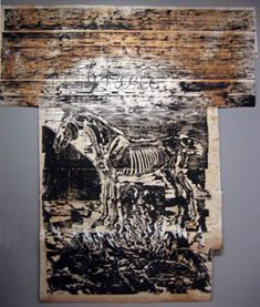 'Grane' by Anselm Kiefer. Woodcut with paint and collage on paper mounted on linin, Museum of Modern Art (New York City) - Anselm Kiefer - Wikipedia, the free encyclopedia