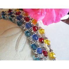 Swarovski bracelet, Sterling silver bracelet, Spirit bracelet, School... ($47) ❤ liked on Polyvore featuring jewelry, bracelets, swarovski crystal jewellery, imitation jewellery, fake jewelry, adjustable bangle and imitation jewelry
