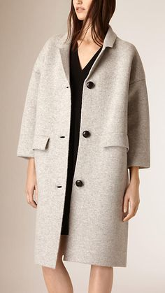 Pale grey melange Oversize Wool Cashmere Cardigan Coat - Image 2