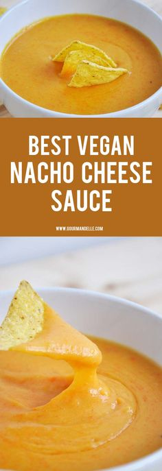 This is the best vegan nacho cheese sauce recipe you can make! It stretches, looks like real cheese nacho sauce and it tastes delicious! #veganrecipes #nachos #vegancheese
