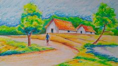 Village landscape:easy drawing tutorial for kids Landscape Drawing For Kids, Drawing Lessons For Kids, Drawing Tutorials For Kids, Easy Drawings For Kids, Nature Drawing, Landscape Drawings, Drawing Ideas, Oil Pastel Paintings, Oil Pastel Drawings