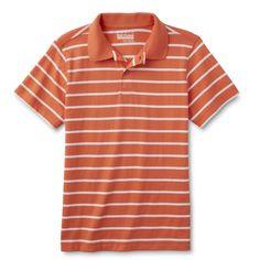 Basic Editions Boys' Polo Shirt - Striped, Size: Medium, Tabby Grey Heather