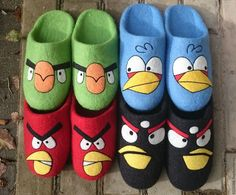 Купить домашние валяные тапочки Angry Birds набор гостевой или семейный - разноцветный