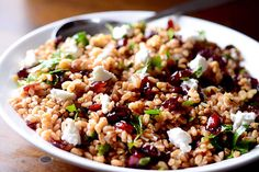 Farro, Cranberry and Goat Cheese Salad from Life's Ambrosia: A healthy, hearty salad with farro, cranberries and goat cheese all tossed in a tangy balsamic vinaigrette. | Tasty Kitchen