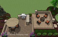 With 665 sq., the Contrasting Paver Patio Design with Grill Station-Bar is… Outdoor Patio Bar, Pergola Patio, Diy Patio, Pergola Ideas, Pergola Plans, Pavers Ideas, Cheap Pergola, Outdoor Landscaping, Outdoor Areas