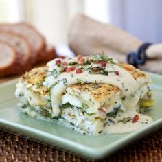 Six-Cheese Lasagna with Pancetta, Asparagus and Spinach in a Summer Basil-Cream Sauce #foodgawker