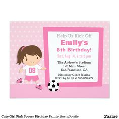 Cute Girl Pink Soccer Birthday Party Invitations