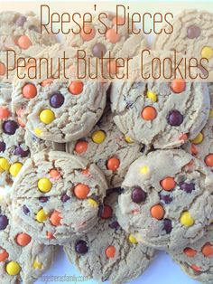 Reese's Pieces Peanut Butter Cookies- soft, thick, and loaded with reese's pieces! Our favorite cookie. www.togetherasfamily.com
