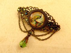Barrette with peacock in green bronze bird hair accessories antique beads barrette girl - pinned by pin4etsy.com
