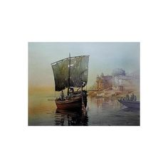 NOVICA India Landscape Color Archival Art Print on Canvas ($198) ❤ liked on Polyvore featuring home, home decor, wall art, art, backgrounds, painting, realist paintings, giclee painting, boat painting and canvas home decor