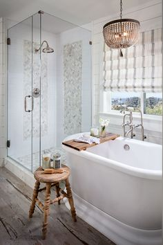 Cypress Valley - Shower, Tub and Chandelier