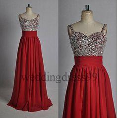 Custom Red Beaded Long Fashion Prom Dresses by weddingdress99, $102.00