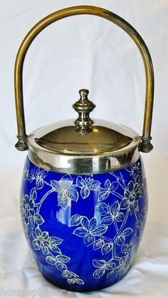 Gorgeous Victorian Cobalt Blue Cased Glass Enamel Floral Biscuit Jar | eBay