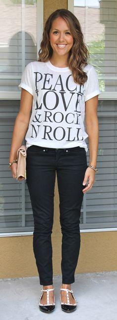 t-shirt + black jeans + flats