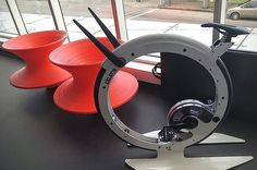 This is a display piece of a futuristic #indoorcycling bike. We saw in #Vancouver Looks cool.