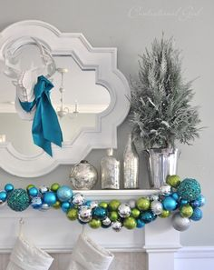christmas diy - ornament garland cute but looks like a lot of work Peacock Christmas, Coastal Christmas, Christmas Mantels, Green Christmas, Diy Christmas Ornaments, All Things Christmas, Christmas Holidays, Silver Christmas, Christmas Ideas