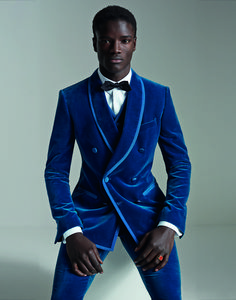 Dolce and Gabbana Velvet Martini Fit Double-Breasted Suit
