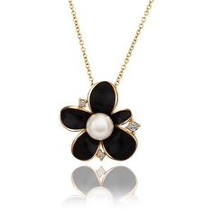 3.02$  Buy now - http://di9mb.justgood.pw/go.php?t=112450301 - Stylish Rhinestoned Black Floral Pearl Gold Plating Necklace 3.02$